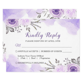 Watercolor Chic Pastel Purple Floral Wedding RSVP Card