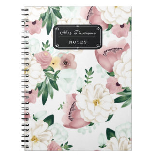 Watercolor Chic Romantic Flowers Personalized Spiral Notebook