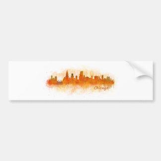watercolor Chicago skyline cityscape v03 Bumper Sticker