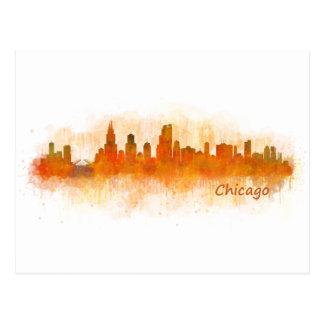 watercolor Chicago skyline cityscape v03 Postcard