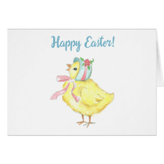 Watercolor Chick Happy Easter Note Card