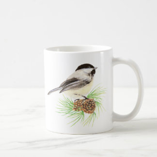Watercolor Chickadee Bird & Pine Nature art Coffee Mug