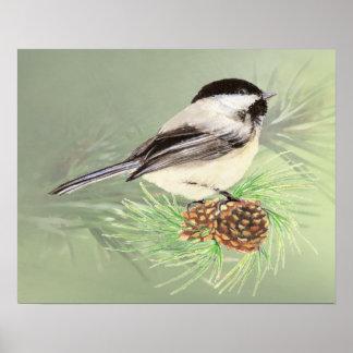 Watercolor Chickadee Bird PineTree cone Poster