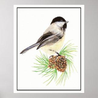 Watercolor Chickadee on Pine Cone Bird Family Poster