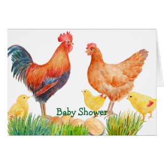 Watercolor Chicken Family Baby Shower Card