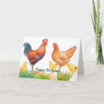 Watercolor Chicken Family Birthday Card