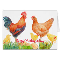Watercolor Chicken Family Mother's Day Card