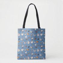 Watercolor Chicken Print on Denim Blue Tote Bag