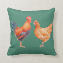 Watercolor Chicken Rooster and Hen Pillow