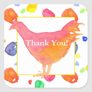 Watercolor Chicken Thank You Square Sticker