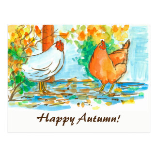 Watercolor Chickens Happy Autumn Postcard