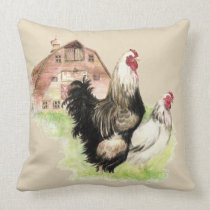 Watercolor Chickens Hen & Rooster Farm Birds Throw Pillow