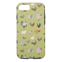 Watercolor Chickens on green iPhone 8/7 Case