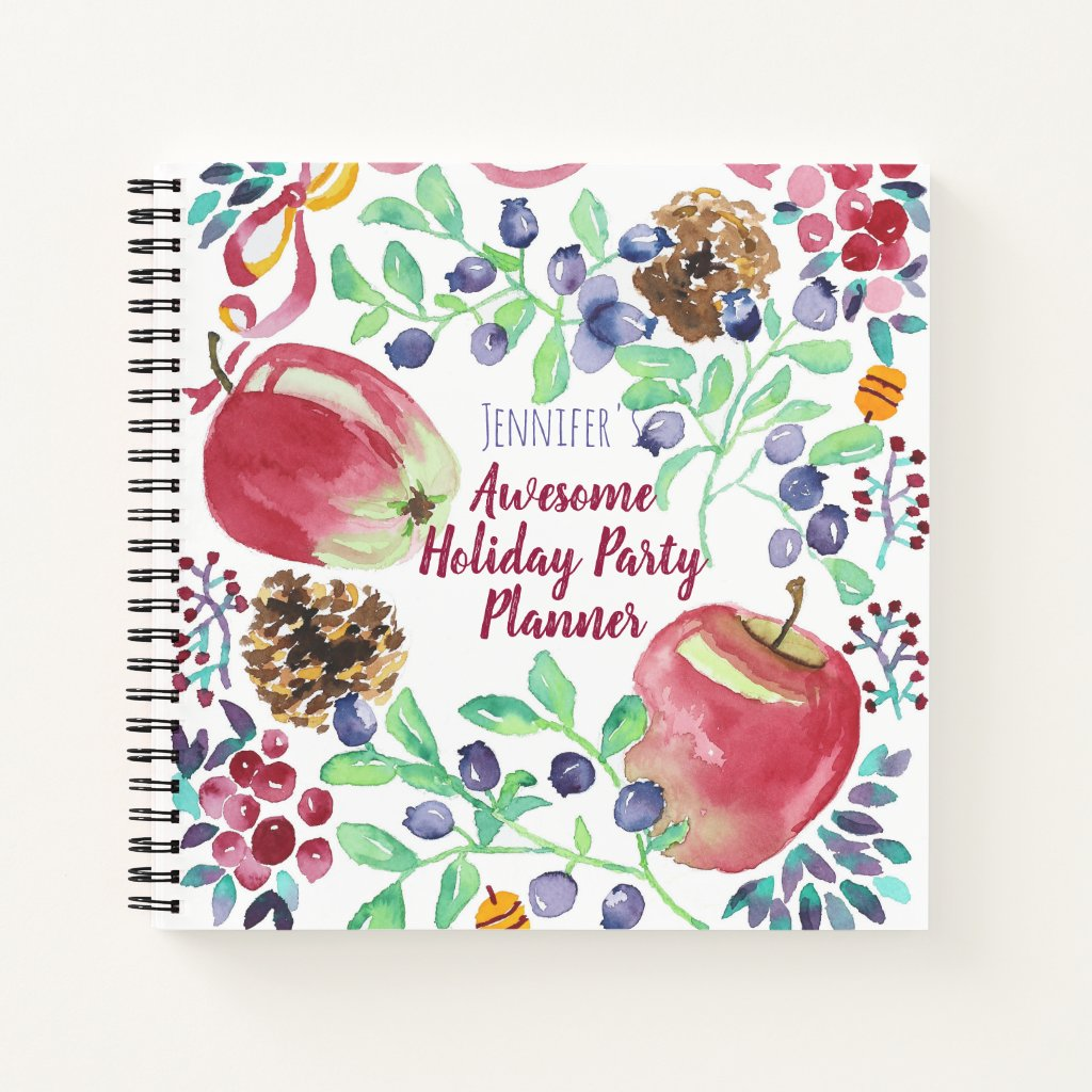 Watercolor Christmas Apples Blueberries Cherries Notebook
