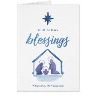 Watercolor Christmas Blessings Nativity Folded Card