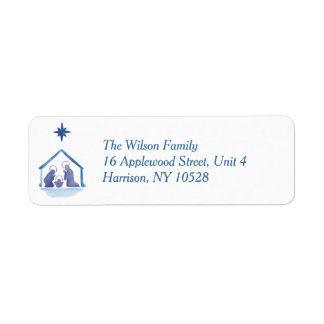 Watercolor Christmas Blessings Nativity Label