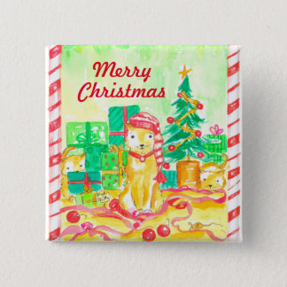 Watercolor Christmas Cats Pinback Button