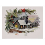 Watercolor Christmas Church scene Poster