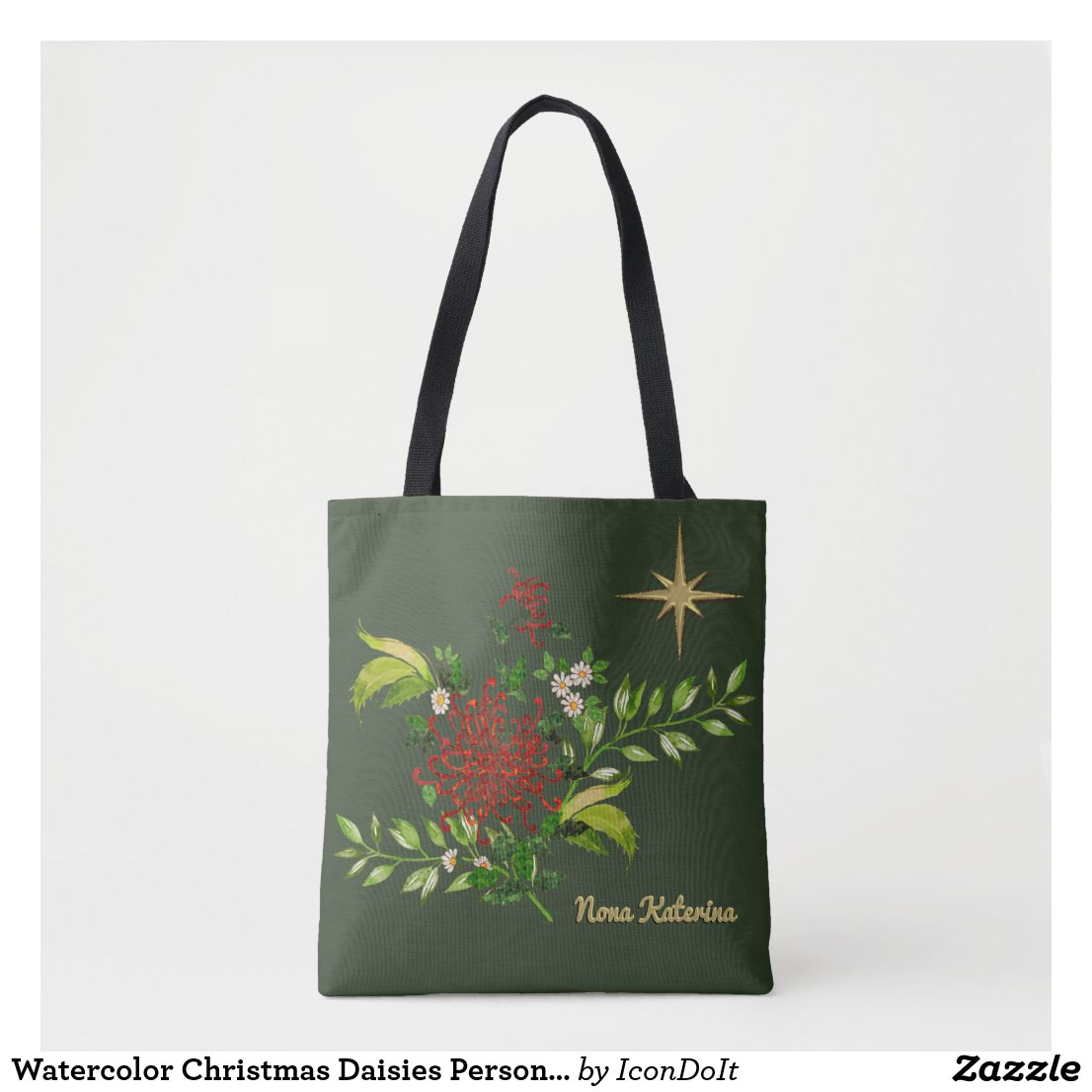 Watercolor Christmas Daisies Personalized Tote Bag