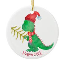 Watercolor Christmas Dinosaur Personalized Ceramic Ornament