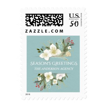 Professional Business Watercolor Christmas Floral Business Holiday Stamp