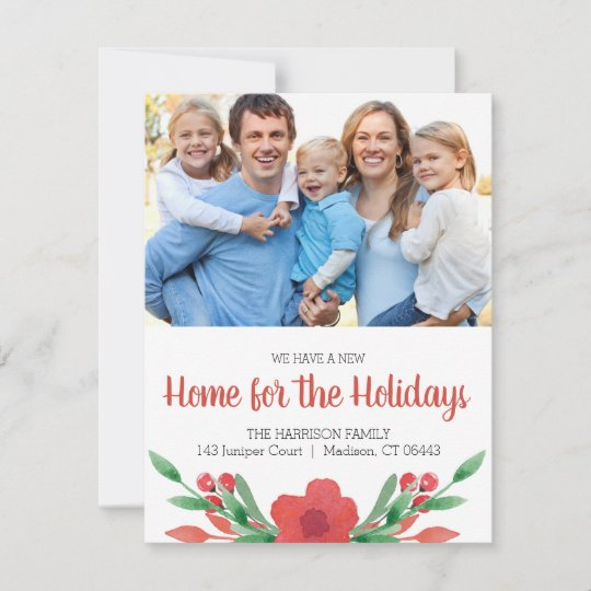 Watercolor Christmas Floral Photo New Address Holiday Card Zazzle Com