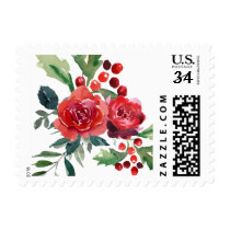 Watercolor Christmas Flowers Holiday Stamp |