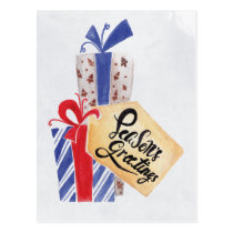 Watercolor Christmas Gifts Corporate Holiday Card