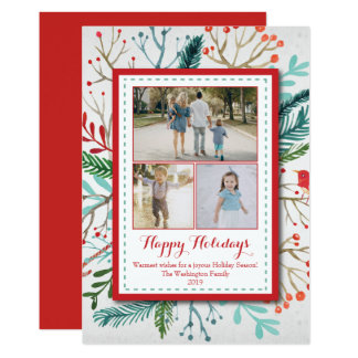 Watercolor Christmas Holiday three (3) photo card