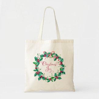 Watercolor Christmas Holly Wreath Holiday Tote Bag