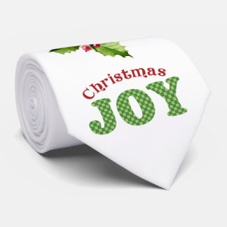 Watercolor Christmas Joy Holly Holiday Tie