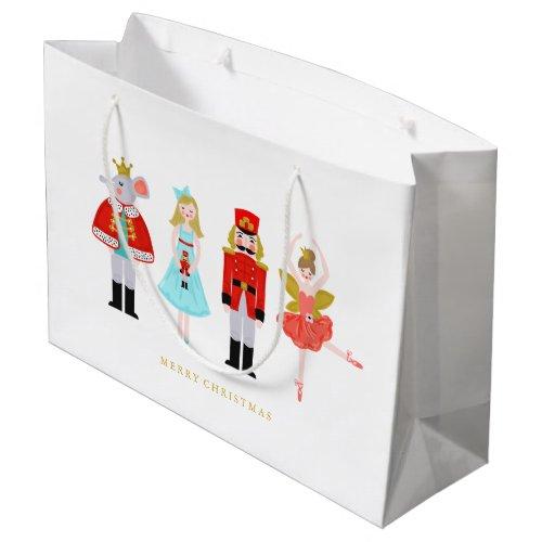 Watercolor Christmas Nutcracker Characters Large Gift Bag