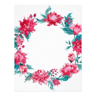 Watercolor Christmas peony wreath Letterhead