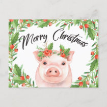 Watercolor Christmas Pig Postcard
