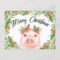 Watercolor Christmas Pig Postcard