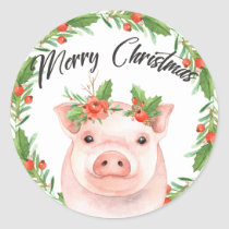 Watercolor Christmas Pig Stickers