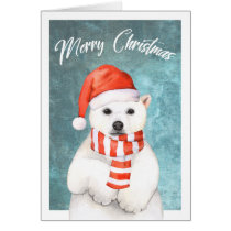 Watercolor Christmas Polar Bear Greeting Card