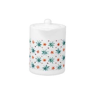 Watercolor Christmas snowflakes Teapot