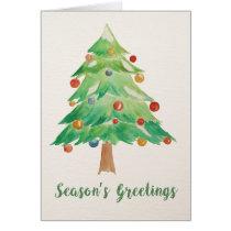 Watercolor Christmas Tree Christmas Card