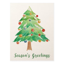Watercolor Christmas Tree Corporate Holiday Card