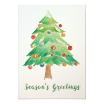 Watercolor Christmas Tree holidays card