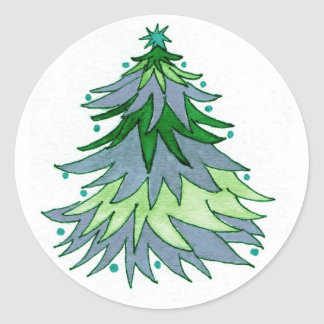 Watercolor Christmas Tree in Muted Blues and Green Classic Round Sticker