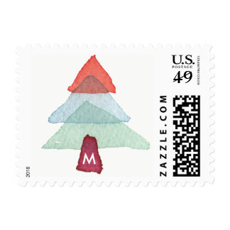Watercolor Christmas Tree Monogram Holiday Stamp