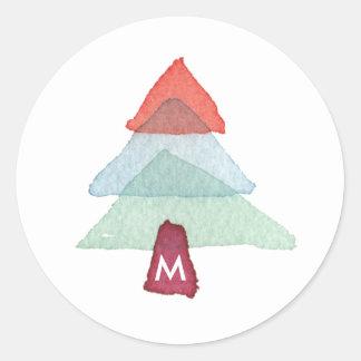 Watercolor Christmas Tree Monogram Holiday Sticker