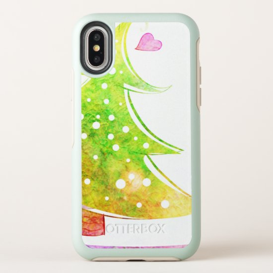 Watercolor Christmas Tree OtterBox Symmetry iPhone X Case