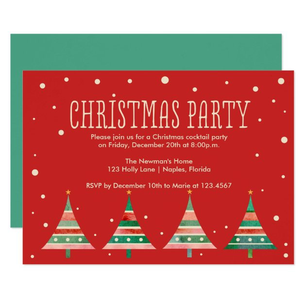 Newman Christmas Trees.Watercolor Christmas Trees Holiday Party Invitation