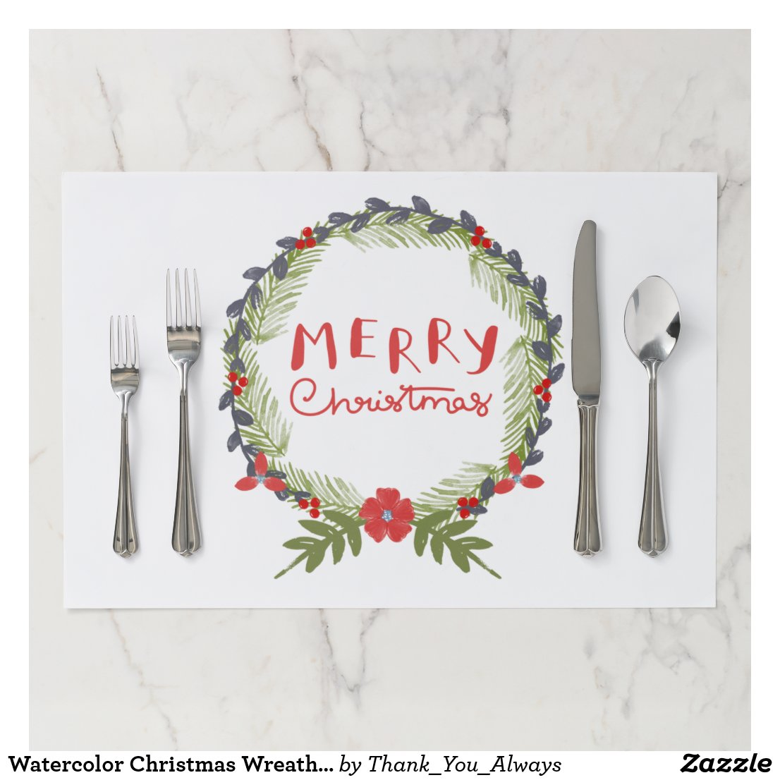 Watercolor Christmas Wreath Tearaway Placemat