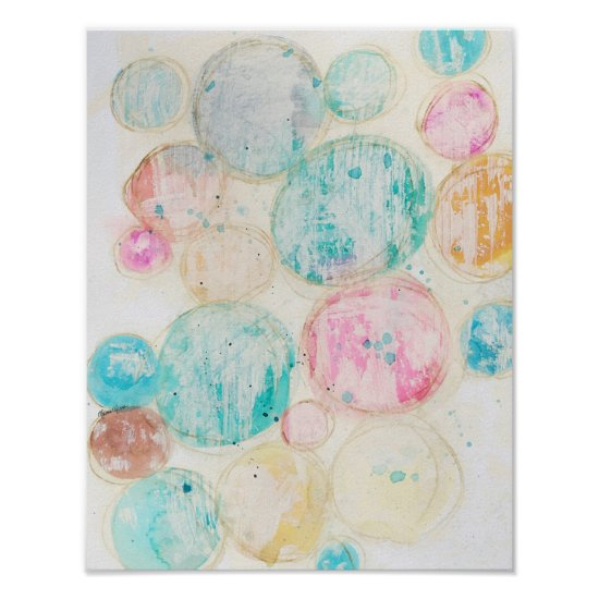 Watercolor Circles Whitewashed Farmhouse Colorful Poster