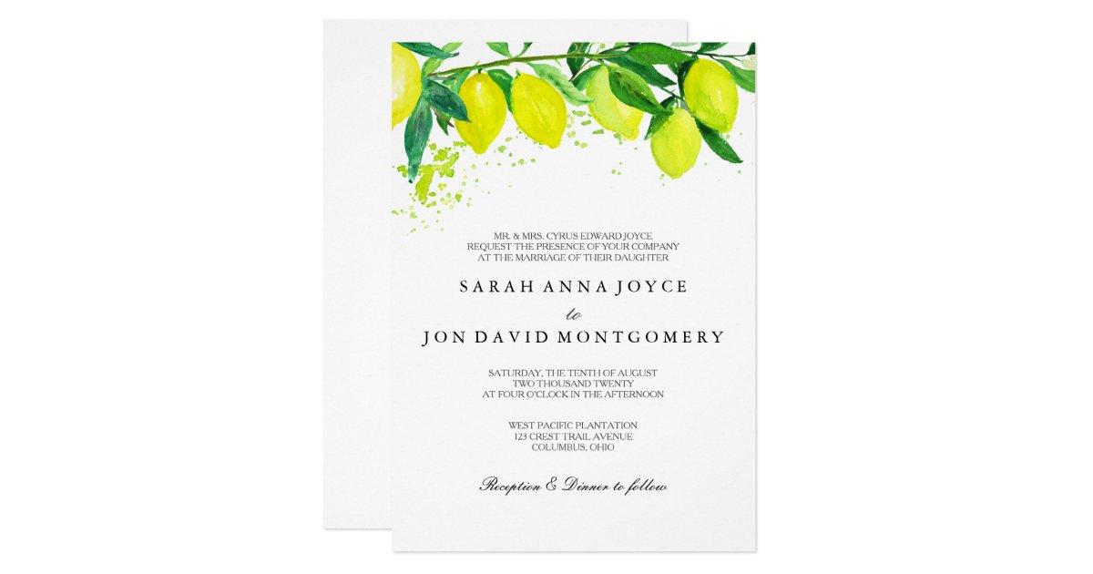 Watercolor Citrus Lemon Wedding Invitation