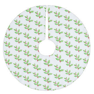 Watercolor Classic Christmas Holly Brushed Polyester Tree Skirt
